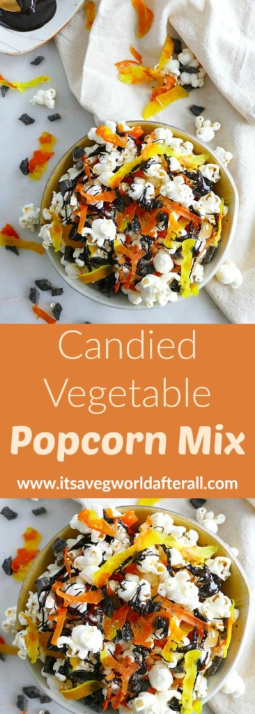 Candied Vegetable Popcorn Mix pin