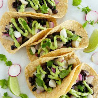 Radish and Black Bean Tacos
