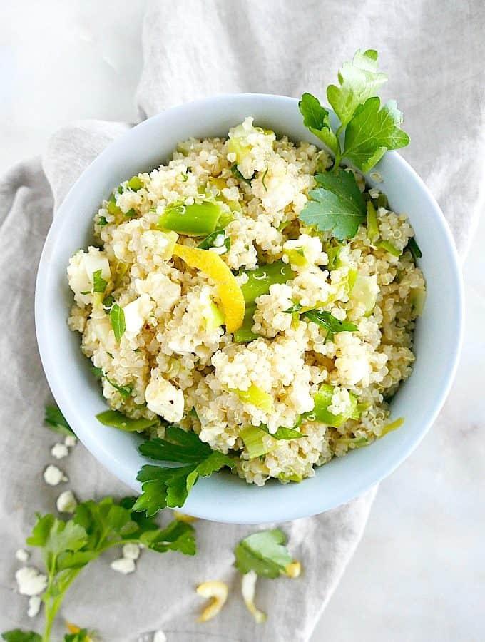 Lemon Braised Leeks and Quinoa Salad