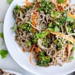 Peanut Soba Noodles with Roasted Broccoli
