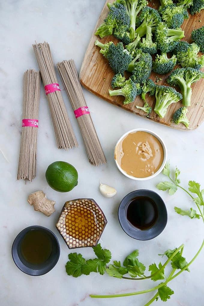 ingredients for peanut soba noodles