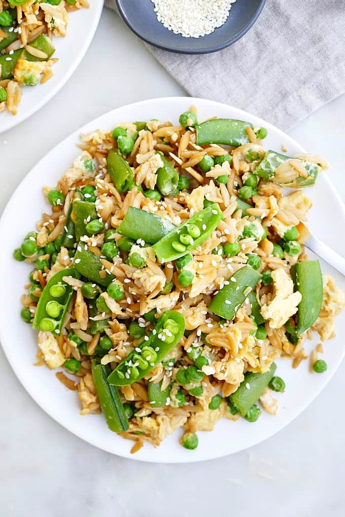 Spring Pea Orzo Fried Rice