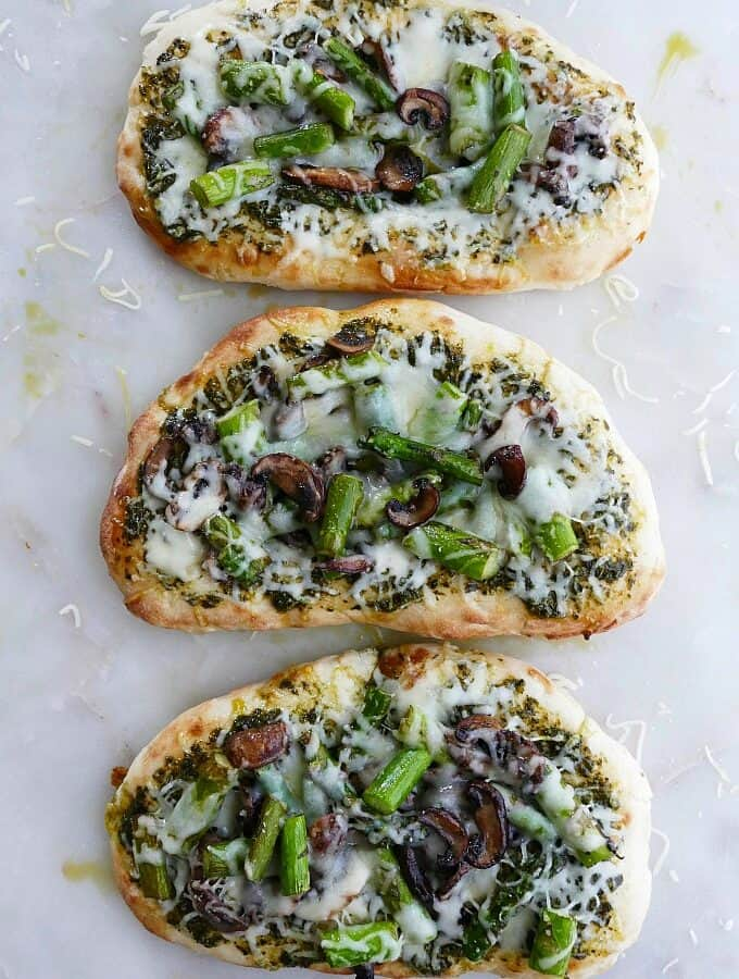 asparagus and mushroom naan bread pizza