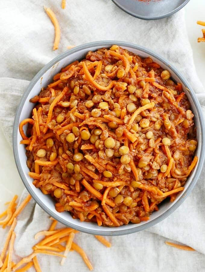 BBQ lentils with shredded carrots