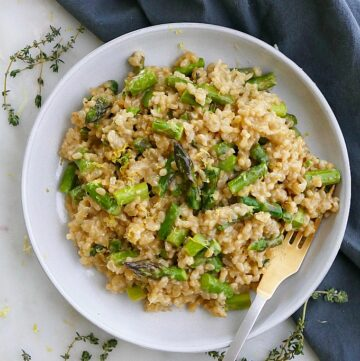 baked brown rice risotto with asparagus