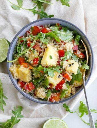 quinoa arugula salad with pineapple