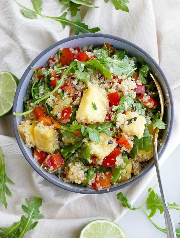 quinoa arugula salad with pineapple