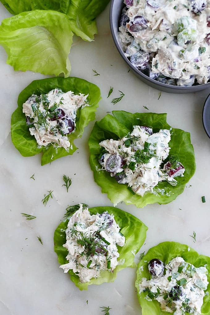 rotisserie chicken salad lettuce cups