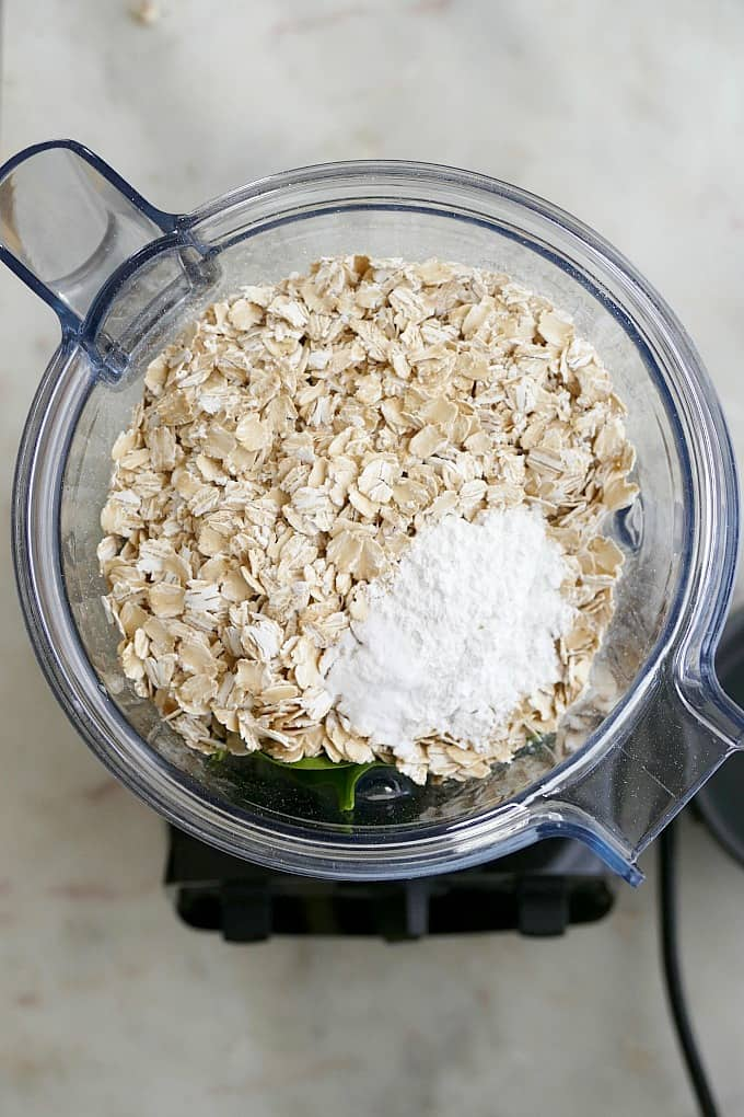 oats and dry ingredients in blender