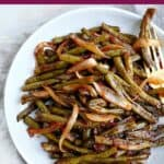 image of BBQ green beans on a plate with a text box on top
