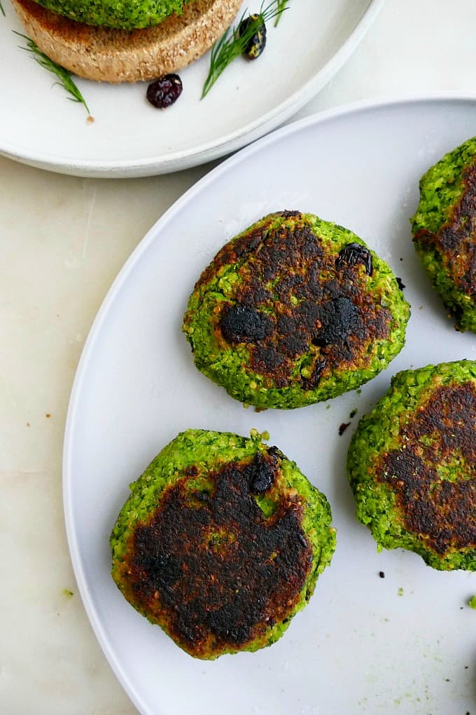 chard and edamame quinoa burgers cooked