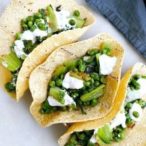 pea and bok choy tacos