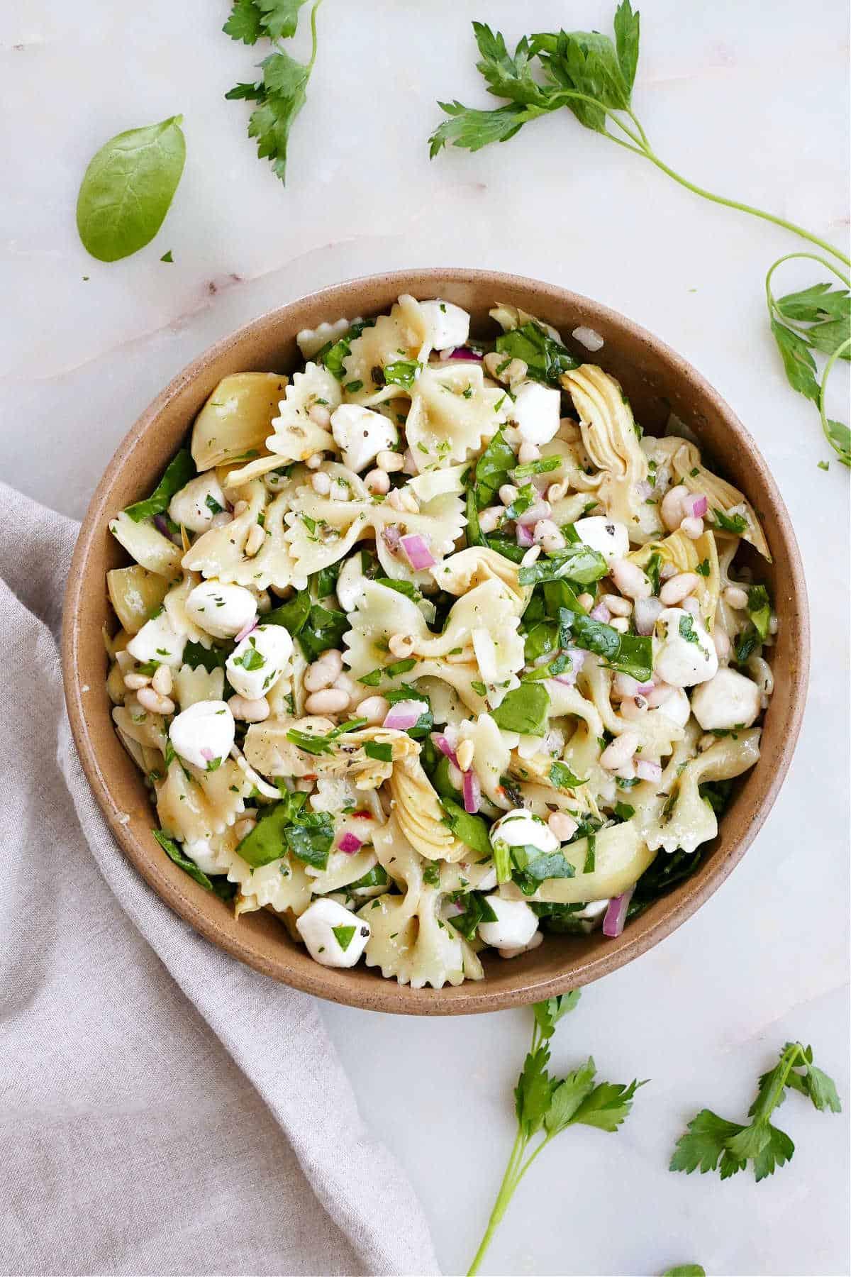 spinach artichoke pasta salad