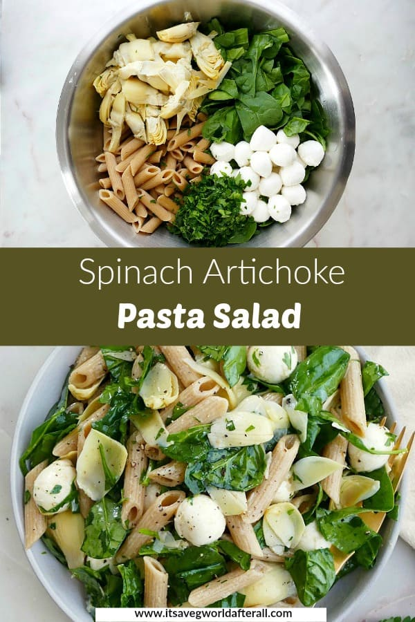 photos of spinach artichoke pasta salad separated by a text box