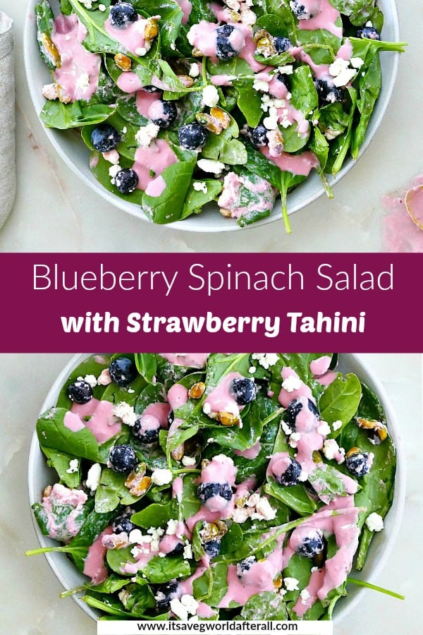 images of a blueberry and spinach salad separated by a purple text box