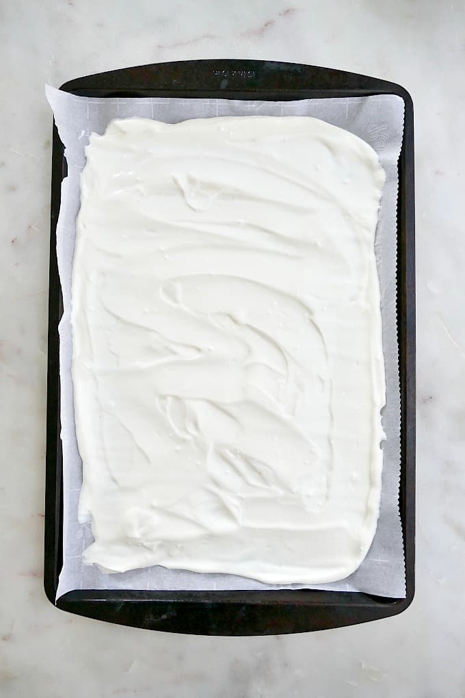 greek yogurt spread on a pan