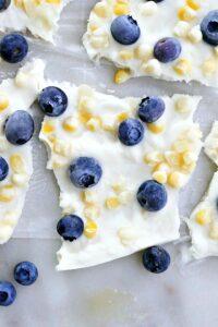 blueberry sweet corn frozen greek yogurt bark