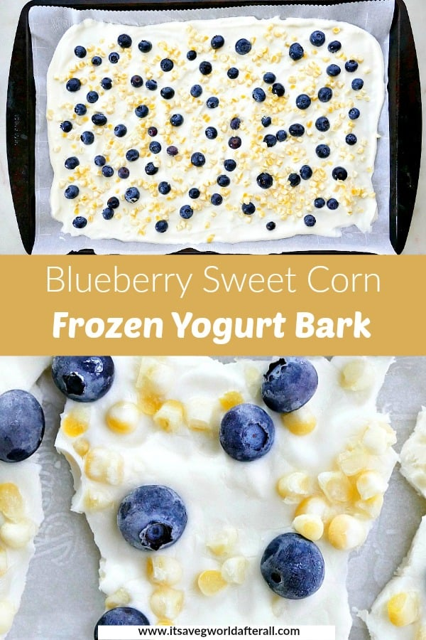 images of frozen Greek yogurt bark separated by a yellow text box