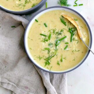 potato garlic scape soup
