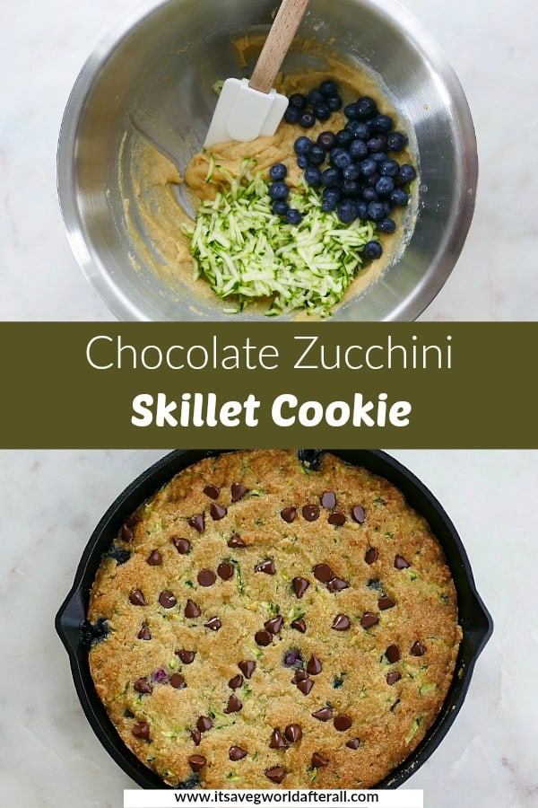 images of skillet cookie ingredients and finished recipe separated by a green text box