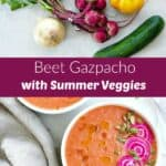 photos of gazpacho ingredients and finished recipe with a text box in between