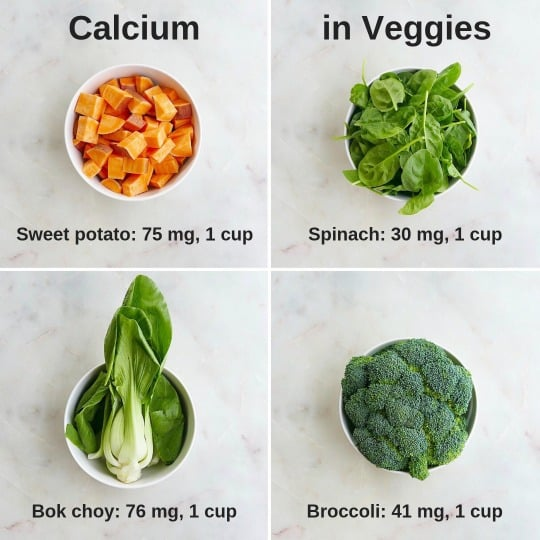 calcium in veggies split screen