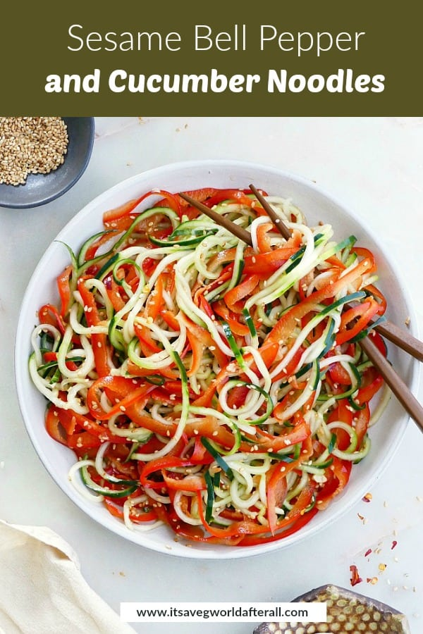 cucumber noodle and bell pepper salad with a green text box on top of image