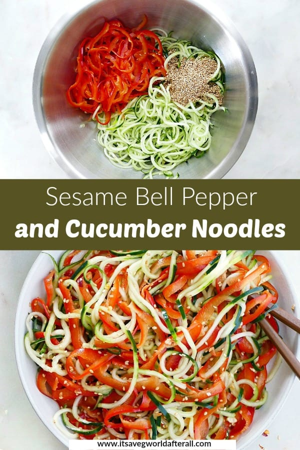 images of spiralized cucumber and pepper noodles separated by green text box