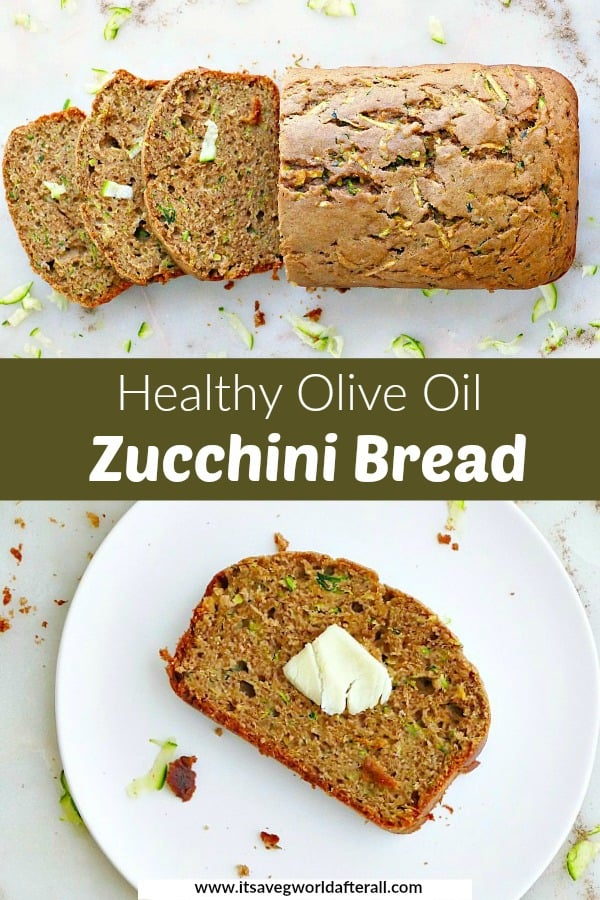 images of sliced zucchini bread separated by a green text box with recipe title