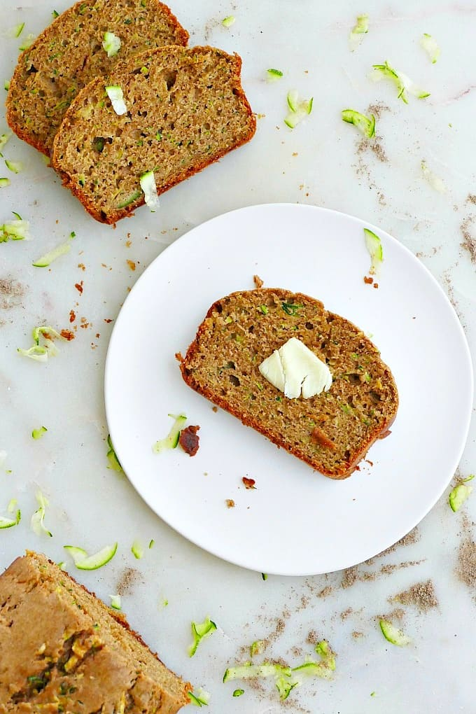 olive oil zucchini bread slice with butter