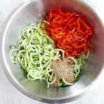 cucumber noodle salad in a bowl