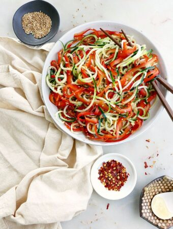 bell pepper and cucumber noodle salad