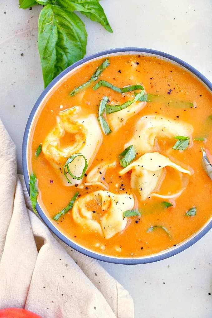 fresh tomato tortellini soup in a soup bowl with basil chiffonade on top