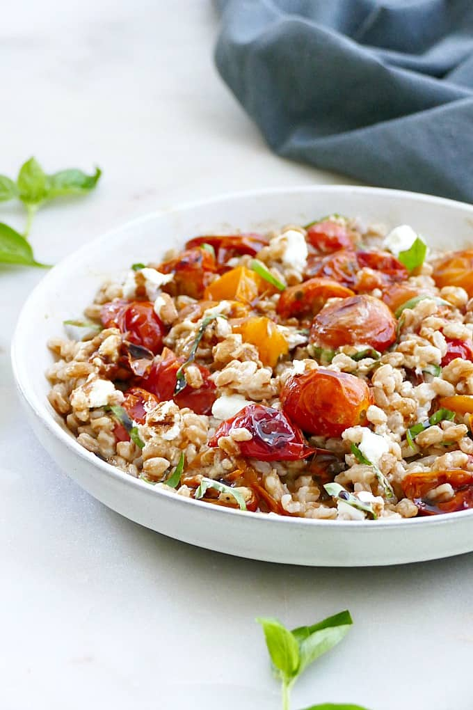 warm farro salad with roasted tomatoes
