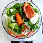vegetables in a food processor