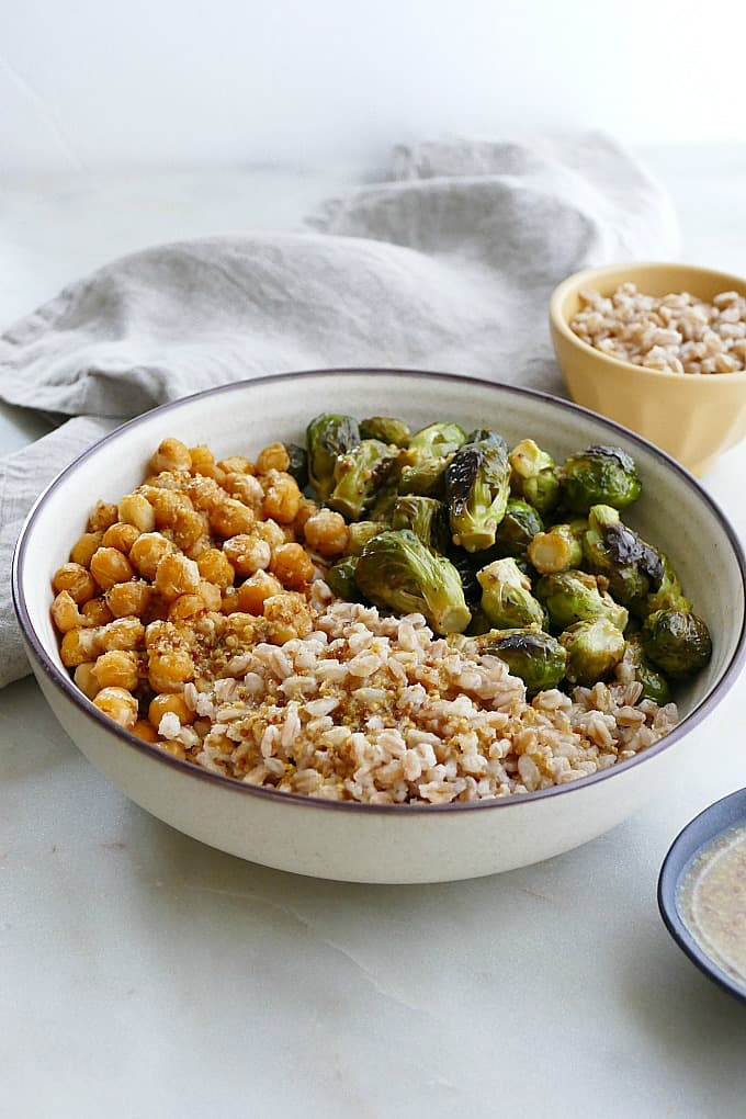 honey mustard brussels sprouts and chickpeas bowls