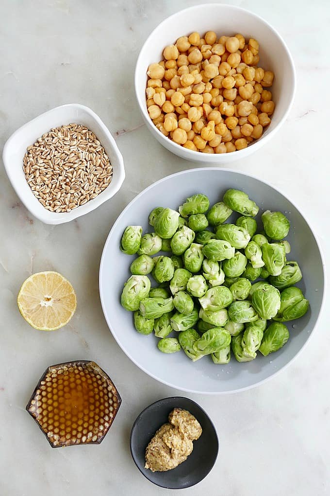 ingredients for honey mustard brussels sprouts