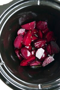 sliced beets in a slow cooker