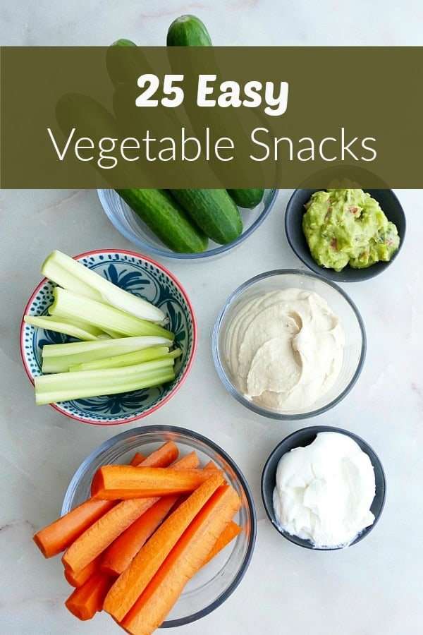 vegetable snack ingredients with text overlay