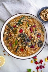 acorn squash risotto with rainbow chard