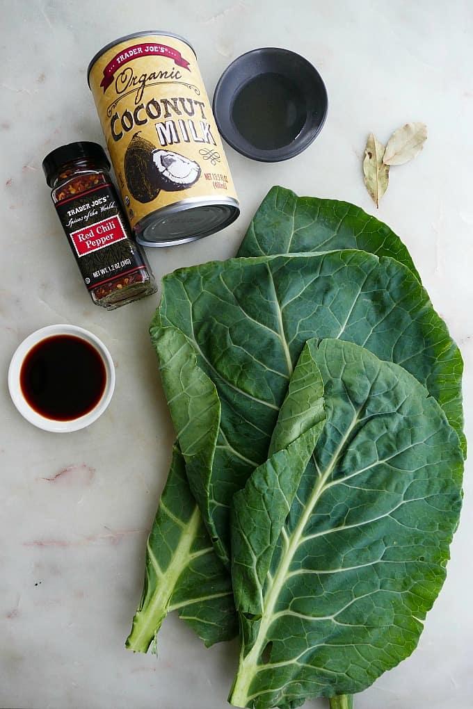 collard greens, soy sauce, pepper flakes, coconut milk, rice vinegar, bay leaves