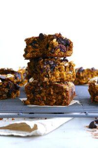 pumpkin oatmeal bars in a stack