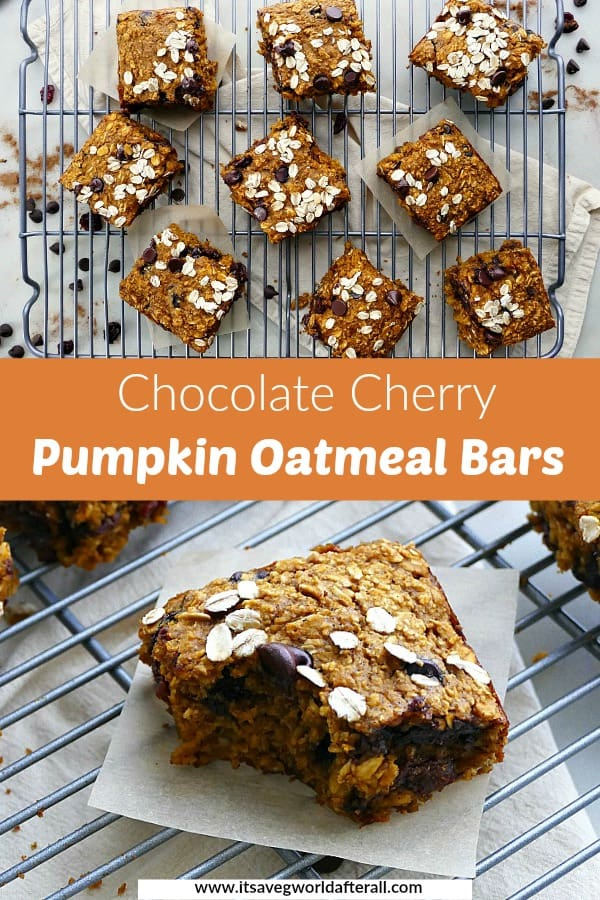 images of pumpkin oatmeal bars separated by a text box with recipe title