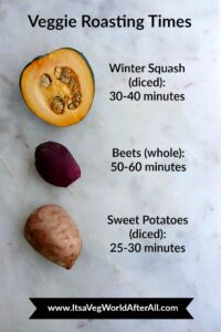 different veggies and their roasting times