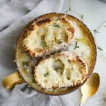 vegetarian french onion soup with lentils with gruyere toasties on top