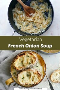 vegetarian french onion soup with lentils with text overlay