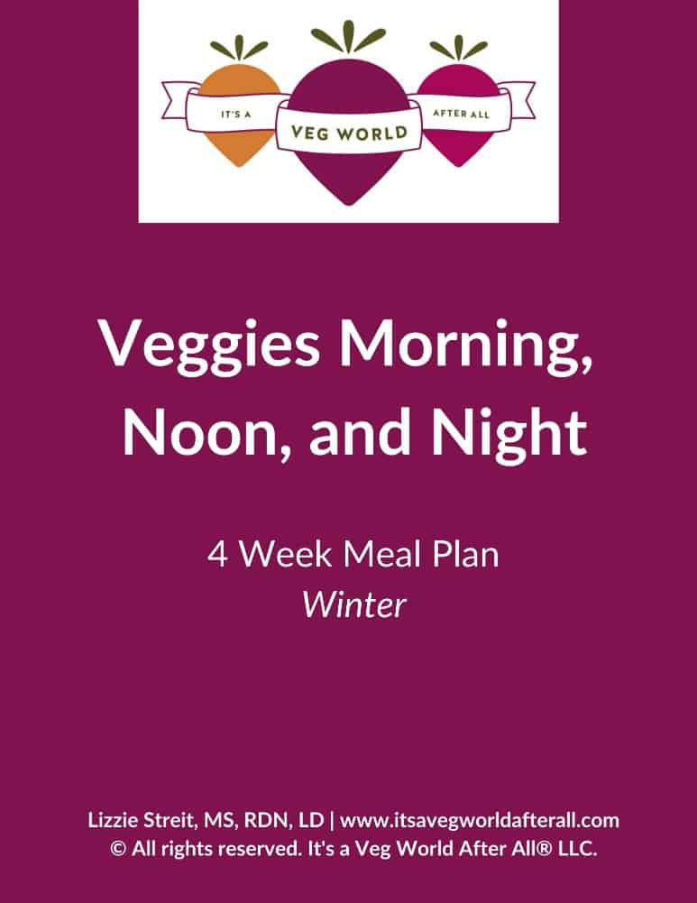 image of the cover of a winter meal plan with a purple background