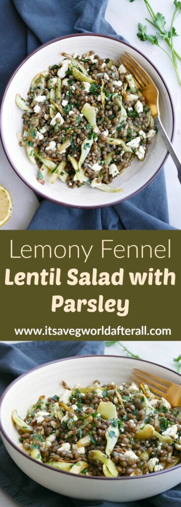 two fennel lentil salad images with a green text box in the middle