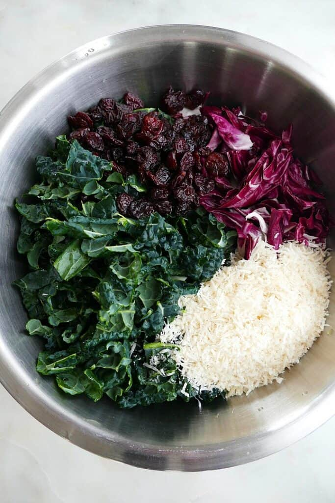 kale, radicchio, dried cherries, and parmesan cheese in a metal mixing bowl