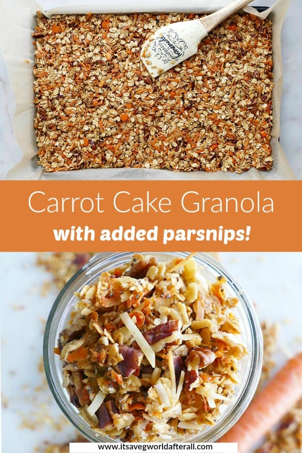 carrot cake granola on a baking sheet and in a jar separated by text
